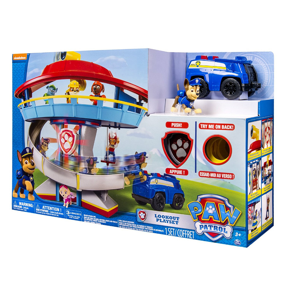 US $77 99 22% OFF|Original box! 2019 Hot Genuine Paw Patrol Lookout Playset  Chase Action Figure Vehicle Nickelodeon Kids New Anime canine toy-in