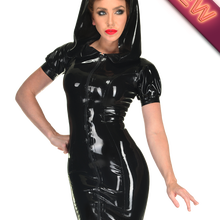 f793807061fe Plus Size Black PVC Dress Vinyl Latex Sexy Catsuit Costume Hooded Bodycon  PU Leather