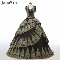 JaneVini 2019 Luxury Black Ball Gown Quinceanera Dresses with Cape Taffeta Tiered Gold Lace Appliques Beaded Pageant Prom Gowns