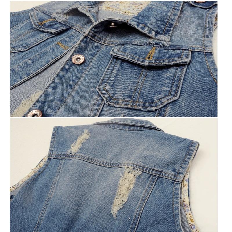 2018 New Tide Woman Jeans Vest Denim Slim Short Vests Sleeveless Hole Hip Hop Girl Waistcoat Female Jacket Womens Clothing Hot