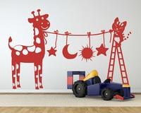 Cat and Giraffe animal Wall sticker Lovely Nursery Giraffe Sticker Removable Giraffe Star Wall Decals Vinyl Nursery Decals 724N