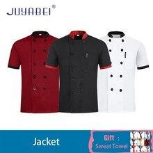 Patchwork Short Sleeve Chef Uniform Summer Restaurant Hotel Kitchen Cooking Jacket Hairdressers Salon Workwear Free Scarf Gift