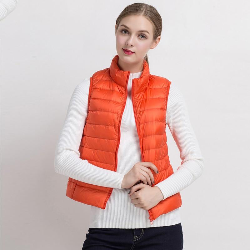 Winter jacket women vest white duck down vest 2016 slim for Women s fishing vest