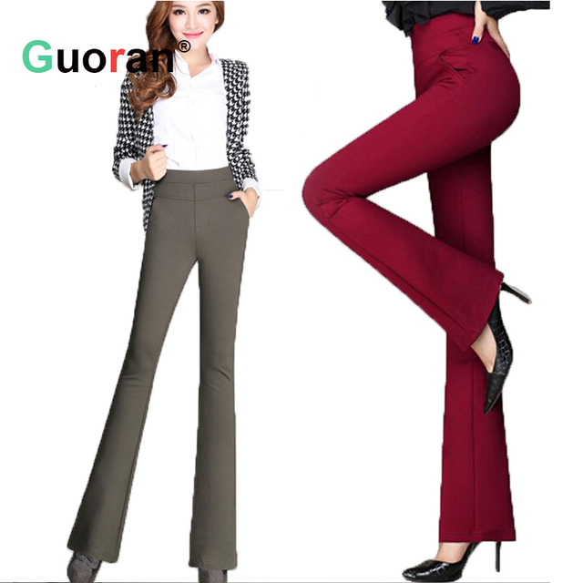 {Guoran } High waist women 2016 fashion office work pants plus size wide leg ladies formal trousers black red khaki female