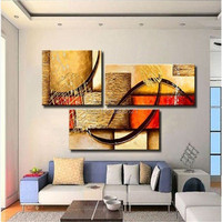 3 Panel Canvas Art Textured Cheap Hand Painted Abstract Oil Painting Yellow Modular Wall Pictures For