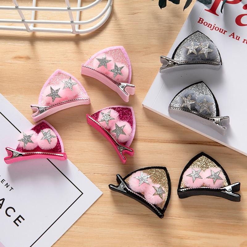 1Pair New Girls Cute Cartoon Cat Ears Hair Clips Princess Lovely Funny Hairpin Barrette Children Headbands Kids Hair Accessories