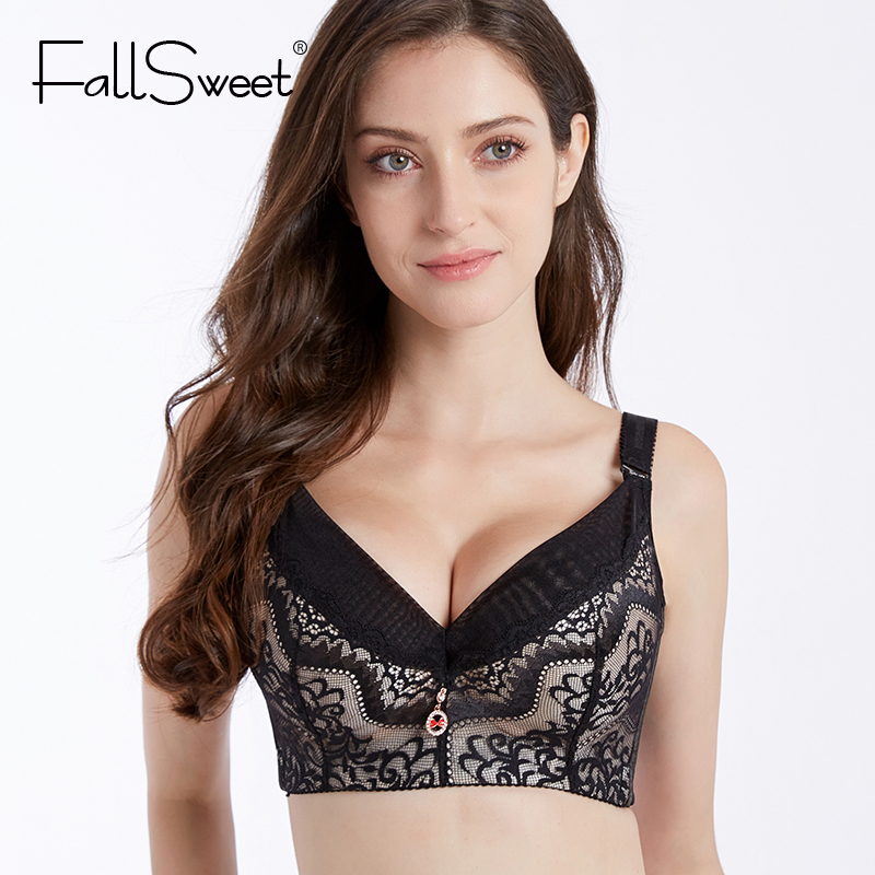 5d4376181 FallSweet Plus Size E Cup Sexy Lace Bra Removable Pads Bras for Women  Underwear Comfort Lace Back Brassiere