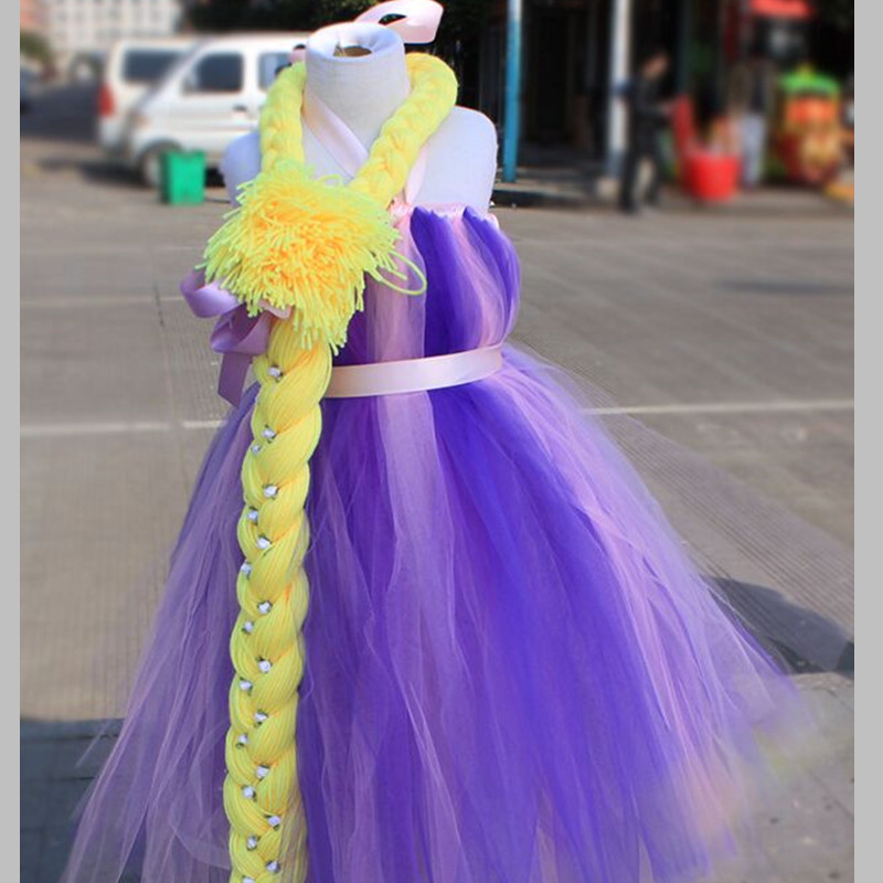 Rapunzel Fairytale Tutu Dress Costume Handmade Princess Fancy Dress Kid Girl Halloween Christmas Birthday Party Tulle Gown Dress fancy girl mermai ariel dress pink princess tutu dress baby girl birthday party tulle dresses kids cosplay halloween costume