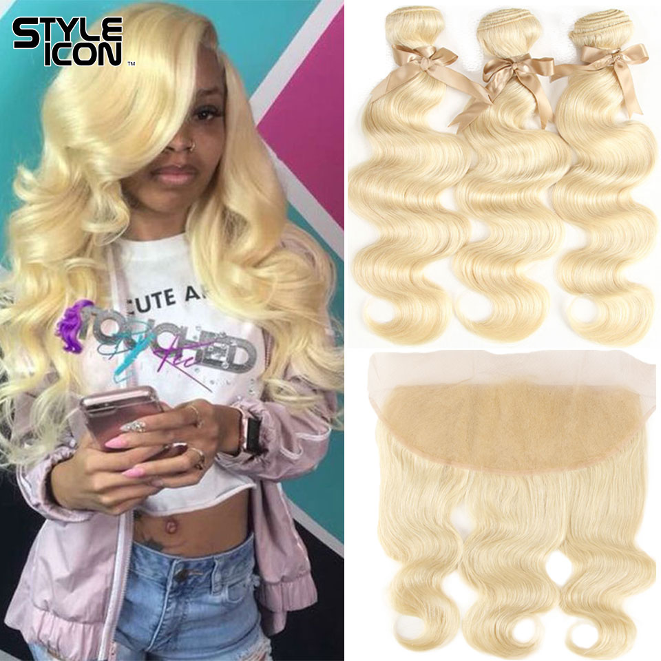 Styleicon Body Wave Hair Weave With Frontal Brazilian Blonde 613 Hair Bundles With 13x4 Lace Frontal Ear To Ear Remy Hair Weaves