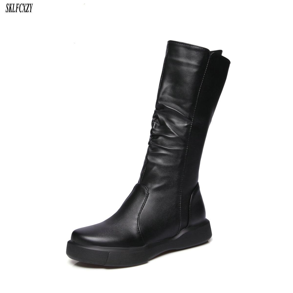 1e45c409eb3 Medio Cómodas Otoño Zapatos Mujeres blanco Nuevas Tamaño Planos Cremallera  Tubo 43 34 Moda Botas 2018 De Negro tzXSvwBq