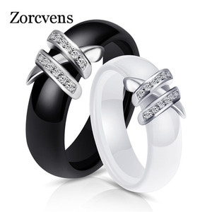 Женские керамические кольца ZORCVENS, черные и белые кольца с двумя кристаллами, 6 мм