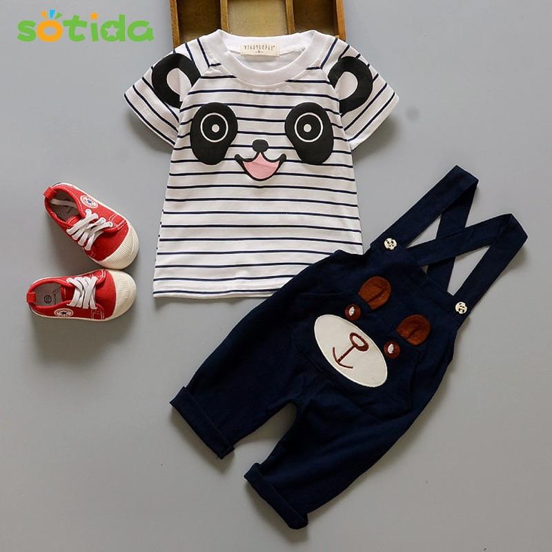 2018 New Summer baby boys sets clothes Cartoon Bear Boys and Girls Clothing Fashion KidsT-shirt+Suspender Pants clothing set new fashion boys cartoon locomotive set thomas