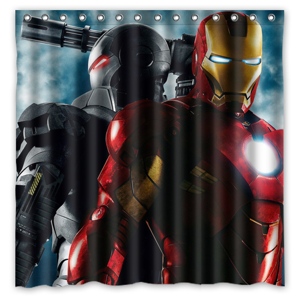 Iron Man Pattern Creative Bath Shower Curtains Bathroom Waterproof ...