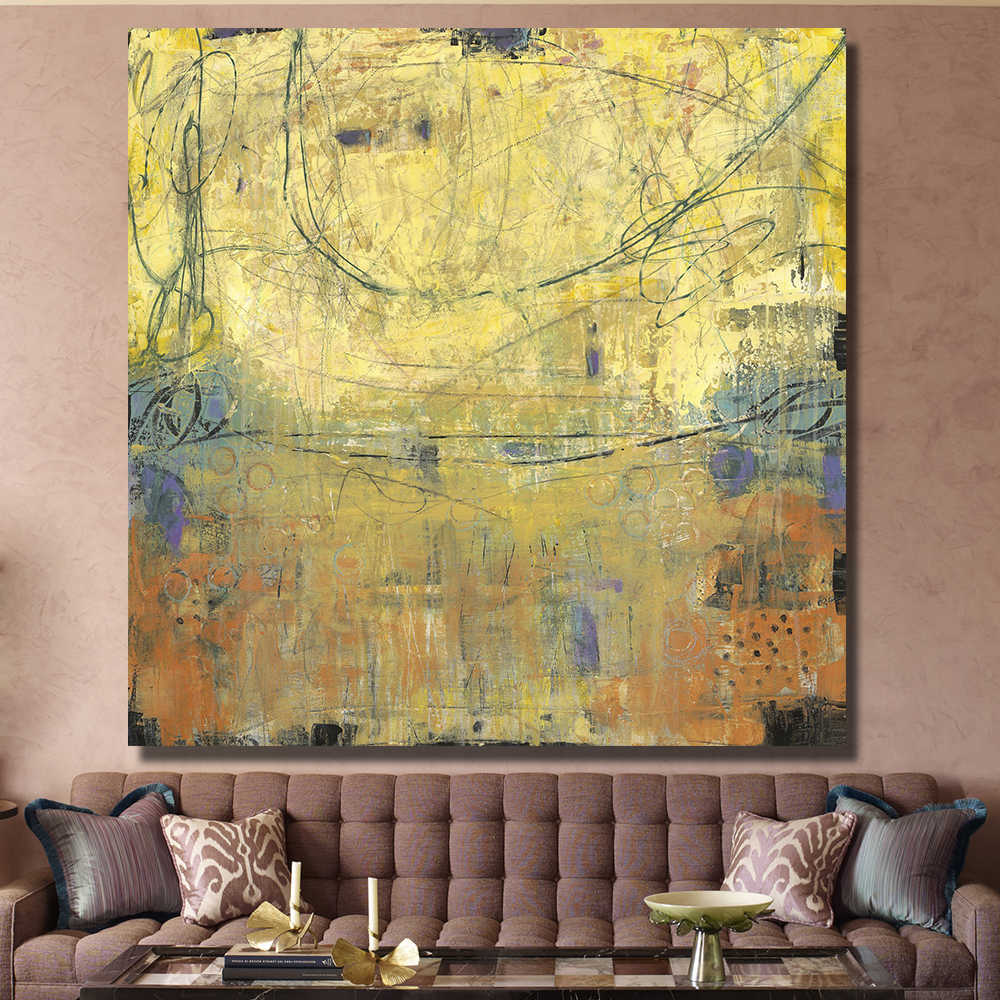 Yellow abstraction Hot Sale Fallout Wall Art Paintings Painting Painted On Canvas Home Decoration Living Room Frameless paintin