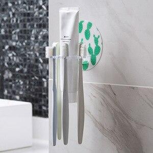 Image 4 - MeyJig 1PC Plastic Toothbrush Holder Toothpaste Storage Rack Shaver Tooth Brush Dispenser Bathroom Organizer Accessories Tools