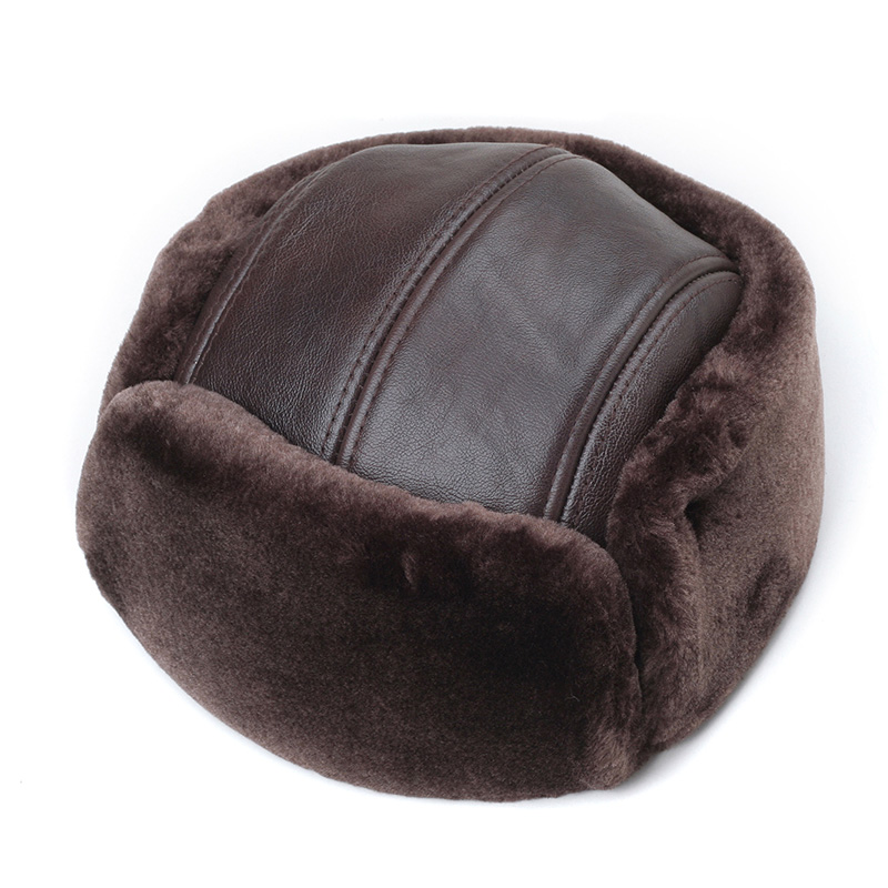 RY964 Male Winter Genuine Leather Faux Fur Black/Brown Bomber Hat For Men Ear Head Warm Moto Caps For Dad Dome Gorras Hombre