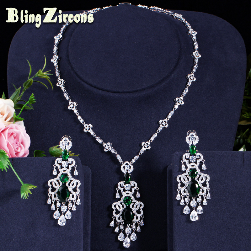 BlingZircons Green Crystal Micro Pave CZ Stone Large Hanging Drop Earrings  Necklace Set For Women Wedding dcdfe8356dd1