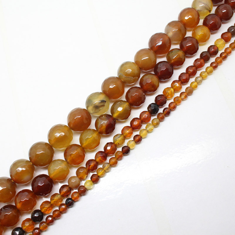 Mini.order er $ 7! 4-12mm fasetterte Ambers Agates Round DIY Loose Beads 15 ""