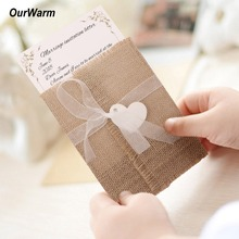 OurWarm 10pcs Burlap Wedding Invitations with Monogram Tag Party Supplies Birthday Rustic Vintage Cards
