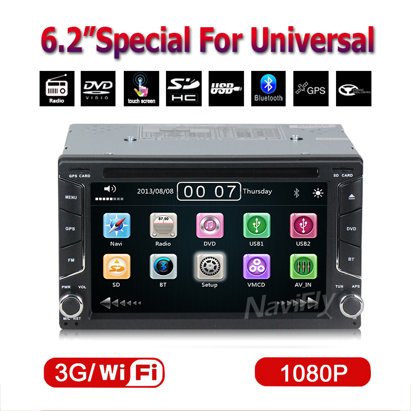 Free shipping 6.2inch two din Universal car multimedia player hot selling support dvd player gps navi radio BT ipod ATV 3G wifi