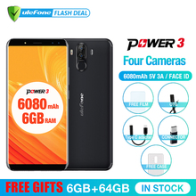 Оригинал Ulefone Power 3  6.0 «FHD + Экран 6080 мАч большая Батарея Смартфон Android 7.1 Face ID& Touch ID четыре Камер  4G мобильный телефон