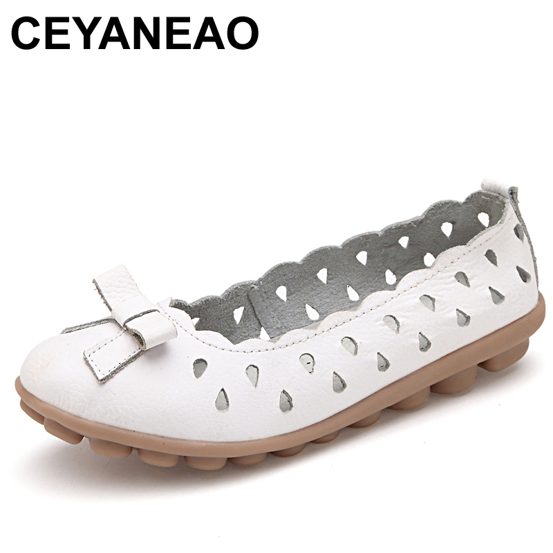 CEYANEAO Summer women flats shoes breathable cutout white ballet flats shoes loafers shoes ladies pointed toe flats shoes