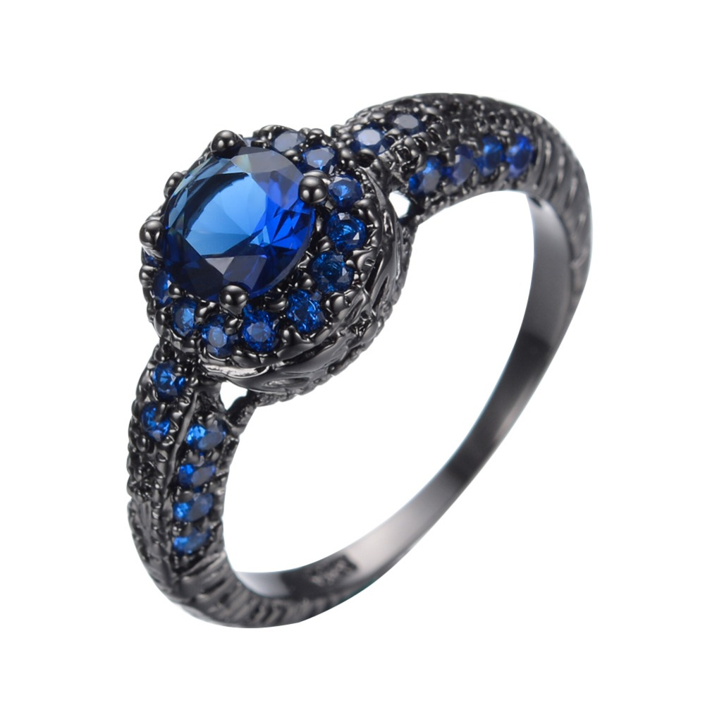 Fashion Blue Female Ring Wedding Band Black Gold Filled Jewelry