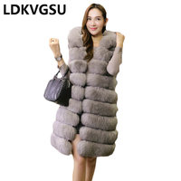 2018 European Station New Faux Fur Vest Women Whole Leather Longer Large Size S 6XL Section Fox Fur Vest Winter Overcoat Is1108