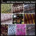 10PCS Mix Hot Design Chocolate Transfer Sheet,DIY Chocolate Mold,Chocolate Printed Sheet,Chocolate/Cookie/Cake Decoration