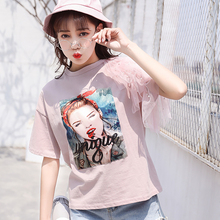 shintimes Tshirt Women Brand 2019 Summer T-Shirt Beading Short Sleeve Lace Cotton Vintage T Shirt Female Tee Femme