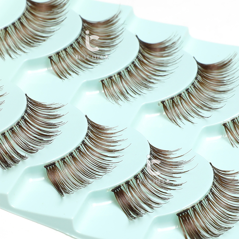 ICYCHEER Makeup Extension Half Eyelashes Brown Color Handmade 5 Pairs Cosmetic Eye Lashes Set