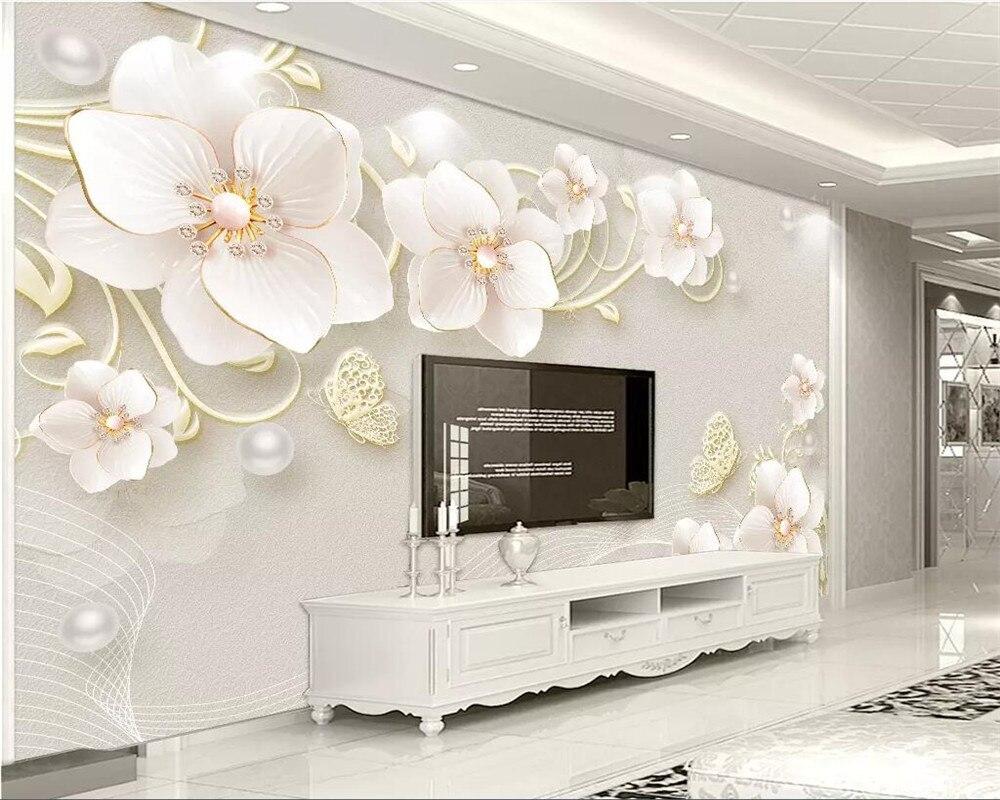 100% Wahr Beibehang Nach Foto Tapete Wandbild 3d Dreidimensionale Geprägte Schmuck Blume Moderne Einfache Europäischen Tv Hintergrund Wand