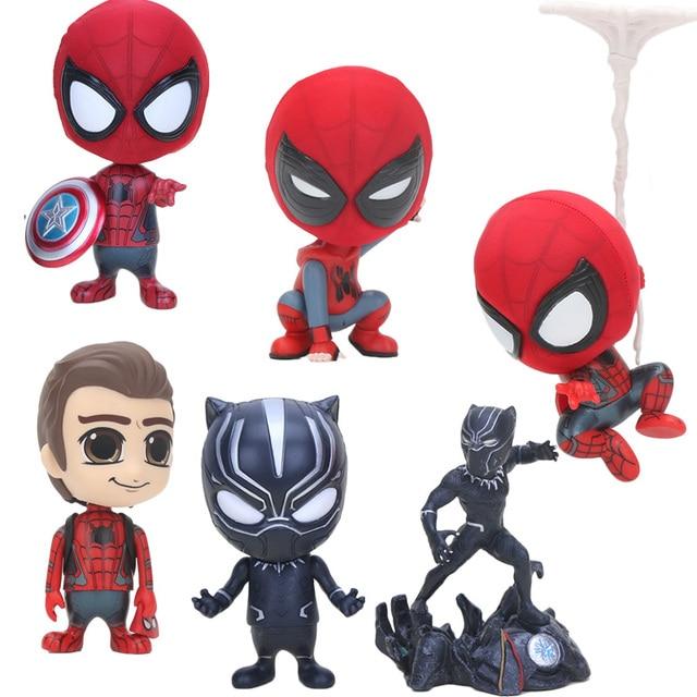 10 cm action figure Superhero spiderman Black Panther BobbleHead decoração PVC Action Figure Model Collection Toy Dolls