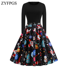 ZYFPGS 2019 Ladies' Dress Christmas print Woman's Long Dress Black Long Sleeve Slim Warm Tight Fashion Party Sales 2XL Z1117 long sleeve elk print christmas mini swing dress