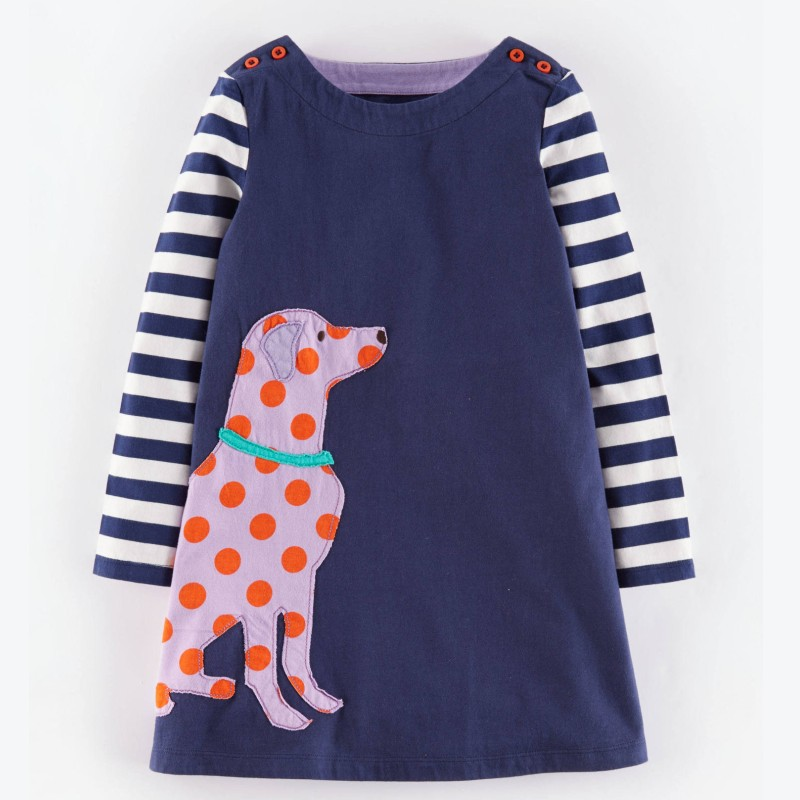 2015 Fashion Dresses Cute Embroidered Patches Cotton Children Dress Brand Kids Clothes Next Clothing Style For