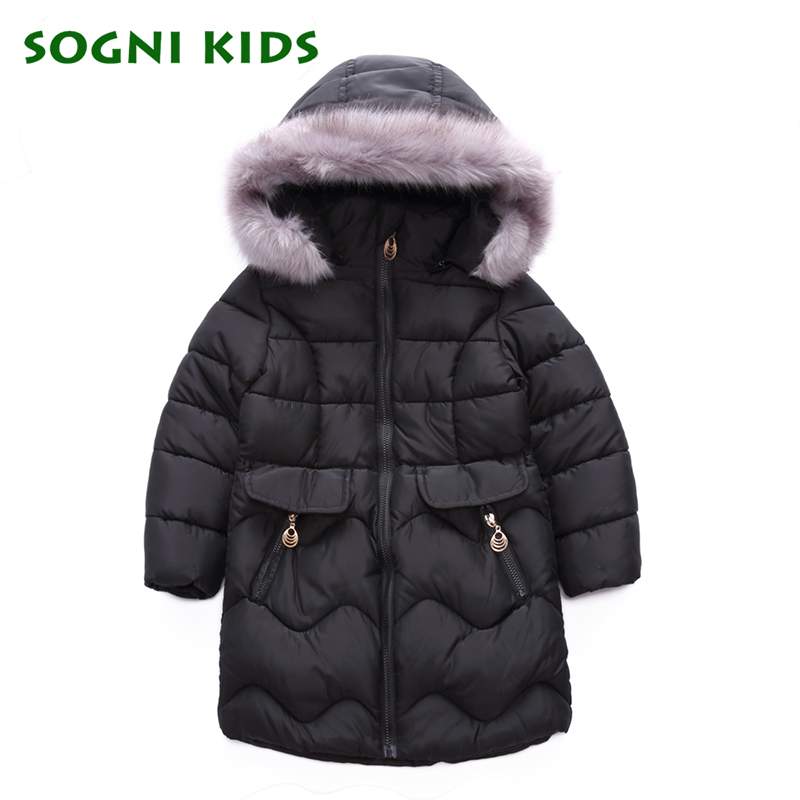 Girls Coats Winter Long Thick Hooded Cotton Parka Jacket Children's Soild With Fur Collar Kids Girls Wram Outerwear Clothes 2 14y winter boys duck down jacket girls outerwear thick warm raccoon fur hooded kids parka coats 30 degree