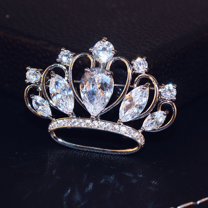 Cx Shirling Luxurious Zircon Bride Crown Brooch Environment Material Full Shiny Zircon Female Wedding Party Crown Broches in Brooches from Jewelry Accessories