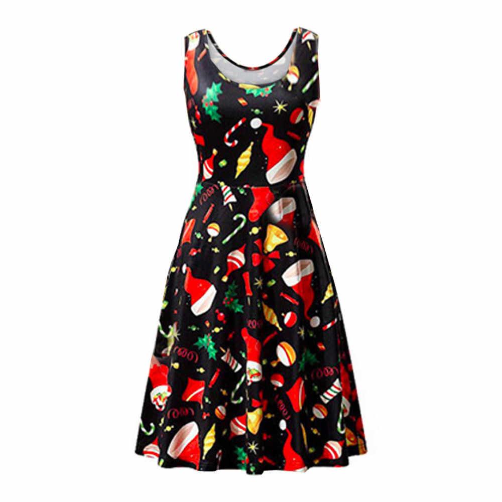 Бесплатная Страусиная Мода для женщин без рукавов с круглым вырезом винтажные рождественские вечерние платья для девочек повседневное женское вечернее женское пикантное платье vestidos