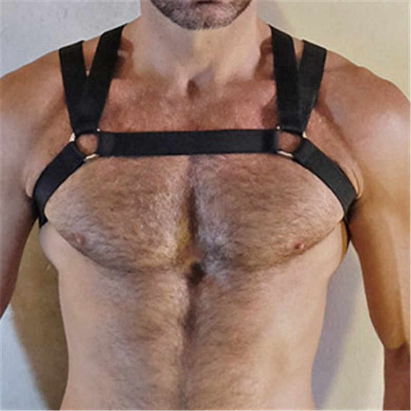 MSemis Mens Harness Belt Gay bdsm Bondage Men Double Shoulder Straps  Elastic Chest Muscle Harness Belt