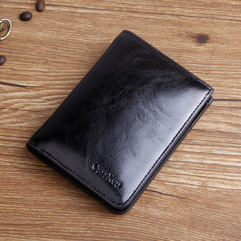 New Vintage Men Wallet Brand High Quality Designer Oil Wax Leather Short Coin Wallet Fashion Zipper Card Purse  For Male