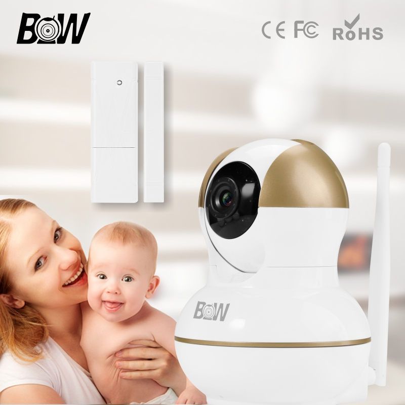 Video Surveillance Camera WiFi Night Vision 2 Way Audio Baby Monitor +Door Sensor Wireless Security Alarm System Camera BW12G bw wireless wifi door
