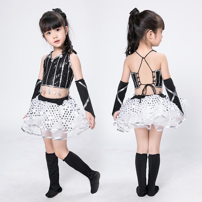 modern jazz dance costume girl sexy sequin top salsa skirts hip hop dance costumes kids cheerleader costume girl dance wear girl