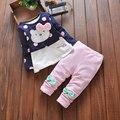 2016 новых мальчиков и девочек осенью и зимой одежда для ребенка милый мультфильм напечатаны рубашка + брюки хлопок одежда