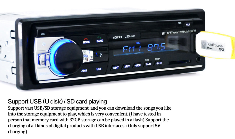jsd 520 12v bluetooth v2 0 car stereo audio in dash single din fmjsd 520 12v bluetooth v2 0 car stereo audio in dash single din fm receiver aux input receiver usb mp3 mmc wma radio player in car radios from automobiles