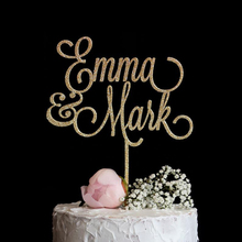 Wedding-Cake-Topper Couple Party-Decor Name Anniversary Custom Calligraphy Personalized