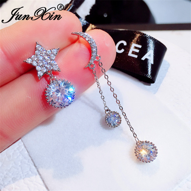JUNXIN Asymmetric Star And Moon Earrings Silver Color Round Crystal Stone Bridal Wedding Drop Earrings For Women Jewelry