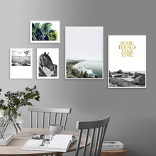 Landscape Canvas Painting Sea Posters And Prints Black and White Art Picture Leaves Wall Living Room Unframed