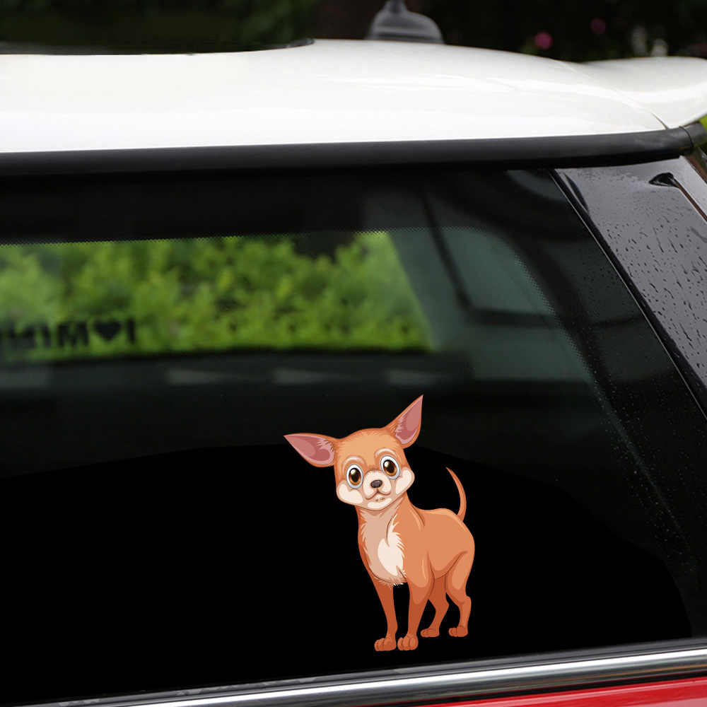 Smontabile e Riutilizzabile Adesivi Una Bella Chihuahua Cane Del Respingente Sticker Adesivi Per Auto Auto e Decalcomanie Car Styling Porta Finestra Decorazioni