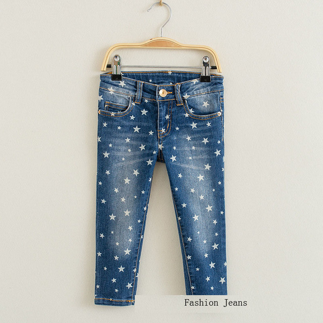 New 2016 Fshion baby boys girls jeans spring autumn Stars Print Kids jeans Zipper Fly Straight Jeans for Boy girl Jeans Pants