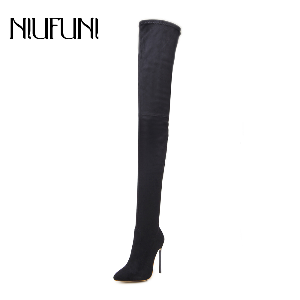 NIUFUNI <font><b>2018</b></font> Over The Knee Boots New Style Pointed Suede <font><b>Shoes</b></font> Female Thin Heels <font><b>Sexy</b></font> Lady Party Women Solid Boots image